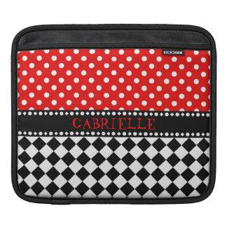Red Dot Checkerboard iPad Sleeve