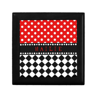 Red Dot Checkerboard Jewelry Box