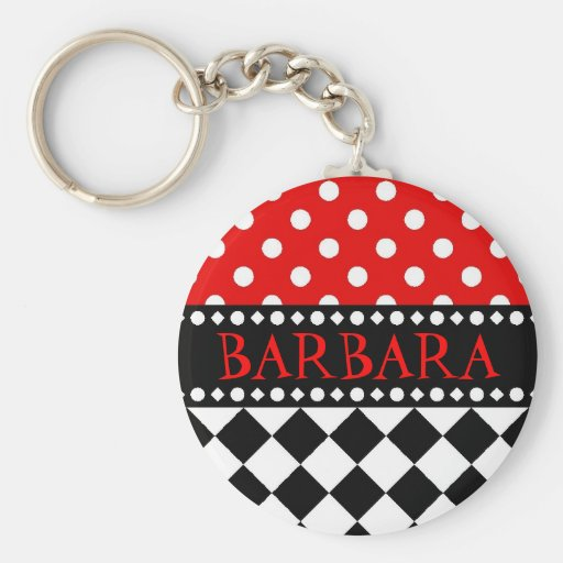 Red Dot Checkerboard Keychains