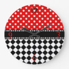 Red Dot Checkerboard Large Clock