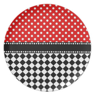 Red Dot Checkerboard Plate