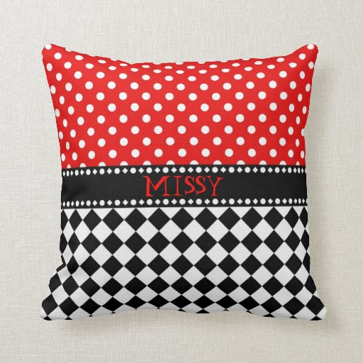 Red Dot Checkerboard Throw Pillow