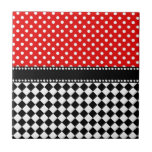 """Red Dot Checkerboard Tile<br><div class=""""desc"""">50&#39;s retro pattern with red polka dots and checkerboard</div>"""