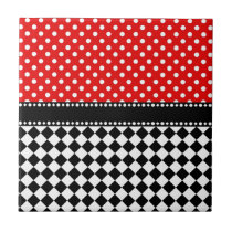Red Dot Checkerboard Tile
