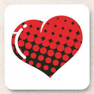 Red Dot Pop Heart Beverage Coaster