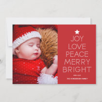 Red Dot Typography Christmas Photo Greeting Holiday Card