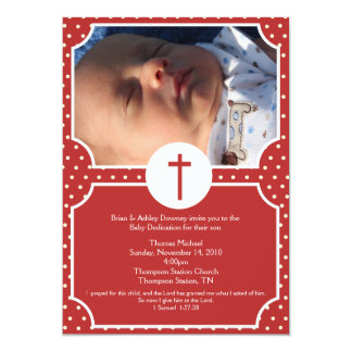 Red Dots Baptism Baby Dedication 5x7 photo 5x7 Paper Invitation Card
