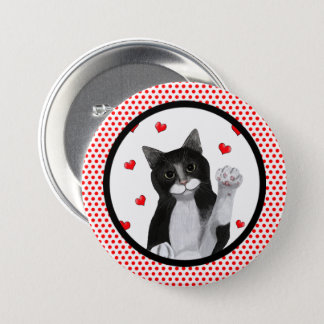 Red Dots Black Border Pinback Button