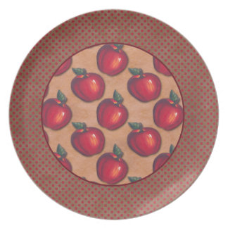Red Dots Border Red Apples Brown Party Plate
