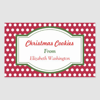 Red Dots Christmas Baking Cookie Gift Tag Stickers