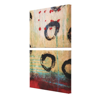 Red Dots & Circles Painterly Abstract Diptych Canvas Print