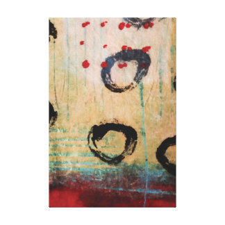 Red Dots & Circles Painterly Wrapped Canvas Canvas Print