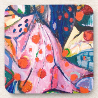 Red Dots (fabric expressionism) Beverage Coaster