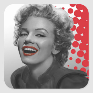 Red Dots Marilyn Square Sticker