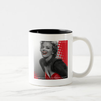 Red Dots Marilyn Two-Tone Coffee Mug