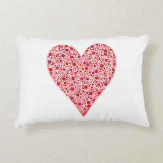 Red dots mosaic Heart Shape pink polka dots Accent Pillow
