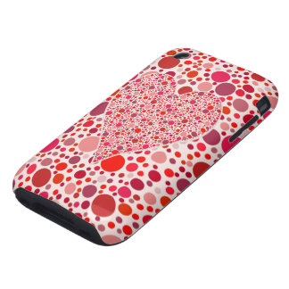 Red dots mosaic Heart Shape pink polka dots Tough iPhone 3 Covers