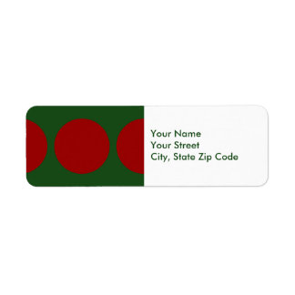 Red Dots on Green return address label