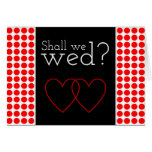 "[ Thumbnail: Red Dots Pattern ""Shall We Wed?"" Card ]"