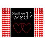 "[ Thumbnail: Red Dots Pattern ""Shall We Wed?"" Card ]"
