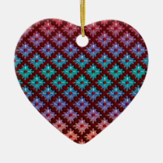 Red Dots Spinning Sensation Double-Sided Heart Ceramic Christmas Ornament
