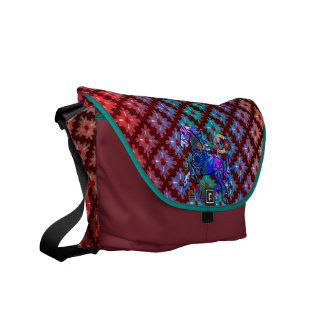 Red Dots Spinning Sensation with Geo Pattern Horse Messenger Bags