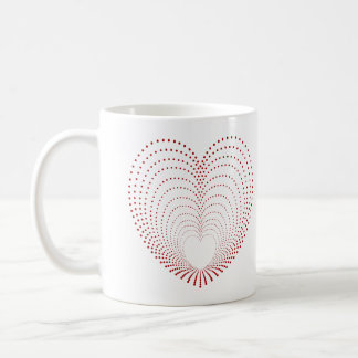 Red Dotted Heart Repeats Coffee Mug