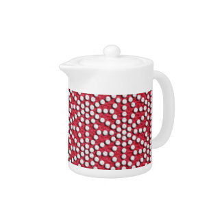 Red dotted Kamishimo japanese pattern Teapot
