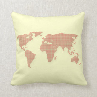 Red Dotted World Map Pillow
