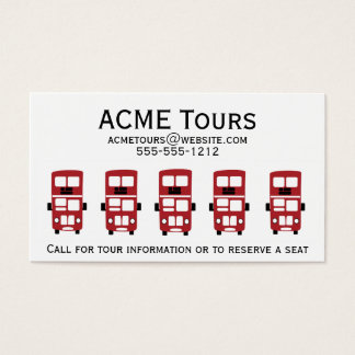 Red double decker bus business card