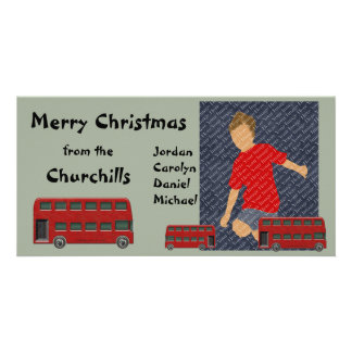 Red Double Decker Bus Christmas Photo Card
