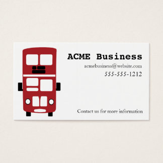 Red double decker bus custom business card