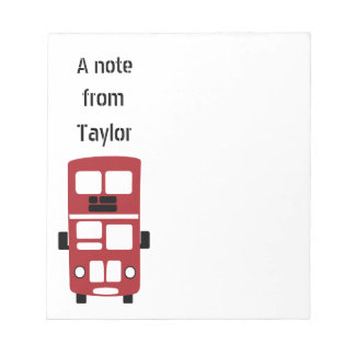 Red double decker bus custom notepad