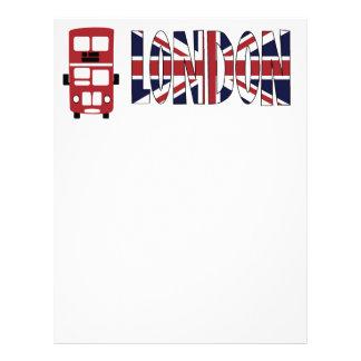 Red double decker bus London letterhead