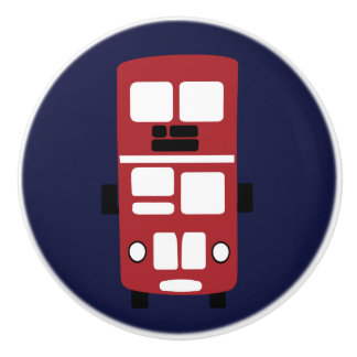 Red double decker bus on navy knob drawer pull