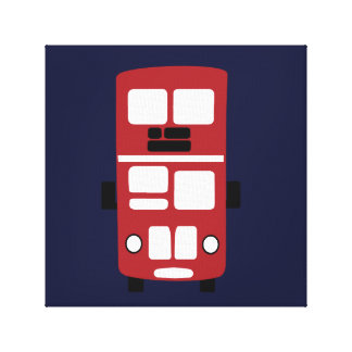 Red double decker bus on navy wrapped canvas