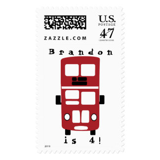 Red double decker bus postage stamp