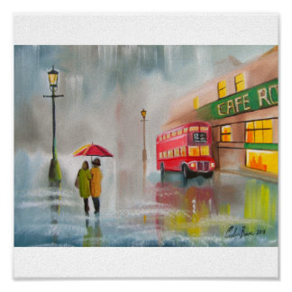 RED DOUBLE DECKER BUS RAINY DAY UMBRELLA POSTER