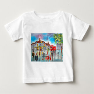 Red double decker bus street scene painting baby T-Shirt