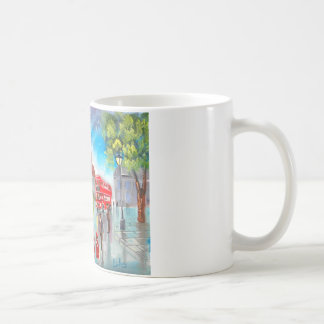 Red double decker bus street scene painting coffee mug