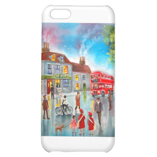 Red double decker bus street scene painting iPhone 5C cases