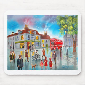 Red double decker bus street scene painting mouse pad