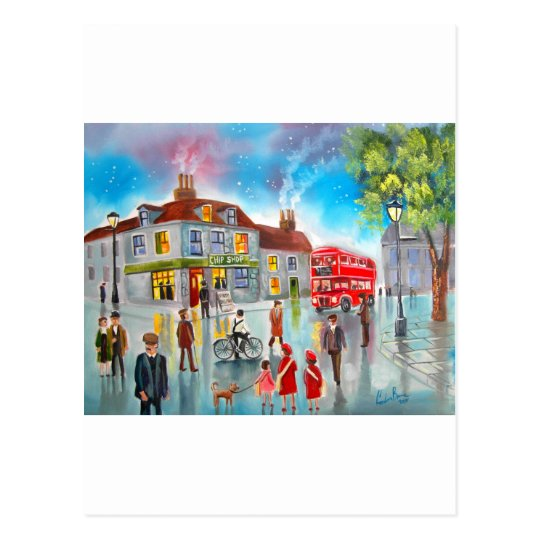 Red double decker bus street scene painting postcard