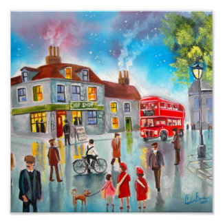 Red double decker bus street scene painting poster