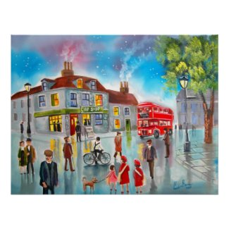 Red double decker bus street scene painting print