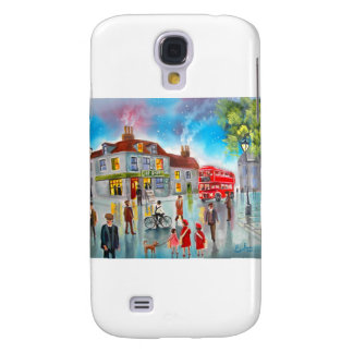 Red double decker bus street scene painting samsung galaxy s4 case