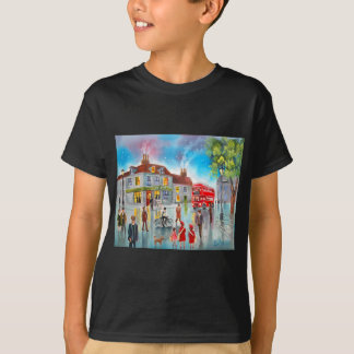 Red double decker bus street scene painting T-Shirt