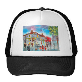 Red double decker bus street scene painting trucker hat