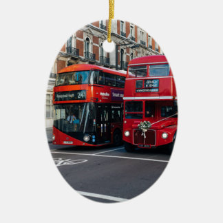 Red Double Decker Buses Ceramic Ornament