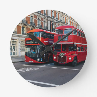 Red Double Decker Buses Round Wallclocks